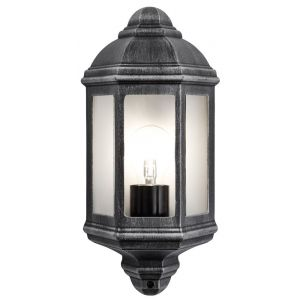 Traditional Outdoor Black/Silver Cast Aluminium Flush Wall Lantern Light Fitting