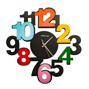 Large Numbered Children's Wall Mounted Clock - Multicoloured