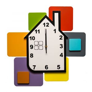 House Square Shapes Wall Mounted Clock - Multicoloured