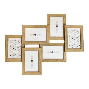 """Contemporary Wood Oak Effect Collage 6 Picture Multi Photo Frame 4"""" x 6"""""""