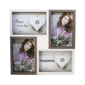"Wood Effect Multi Photo Frame 4"" x 6"" White - Brown"