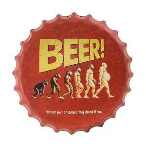 Beer Drinking Ancestors Metal Bottle Cap Wall Art - Red