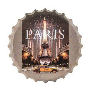 Lovers in Paris Retro Metal Bottle Cap Wall Art - Multicoloured