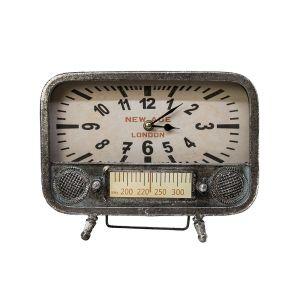 Vintage Dual Dial Tuner Radio Style Clock - Silver
