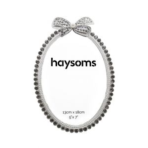 """Oval Shaped Metal Photo Frame 5"""" x 7"""" Crystal - Silver"""