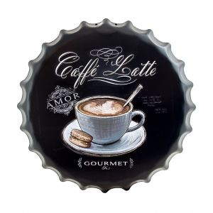 Caffe Latte Coffee Style Metal Bottle Cap Wall Art - Black