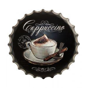 Cappuccino Coffee Metal Bottle Cap Wall Art - Black