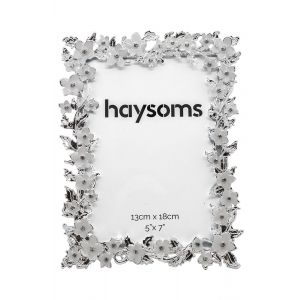 "Square Flowery Metal Photo Frame 5"" x 7"" White - Silver"
