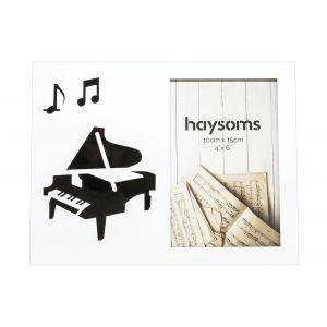 "Musical Photo Frame 4"" x 6"" Piano - White"