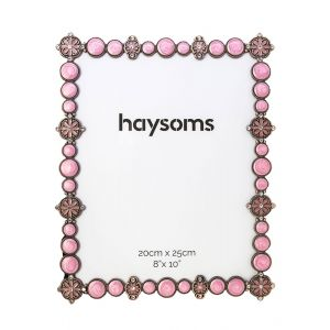 """Bejewelled Square Metal Photo Frame 8"""" x 10"""" Pink"""