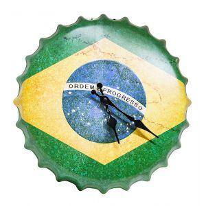 Brazil Flag Bottle Metal Wall Clock - Green - Yellow - Blue