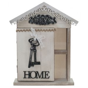 Cute Shabby Chic 'Home' Key Cabinet with Lace Bow and Key Icons