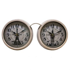 London & Paris Metal Glasses Style Double / Dual Clock - Cream