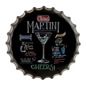Retro Classic Martini 'How To' Metal Bottle Cap Wall Art - Black