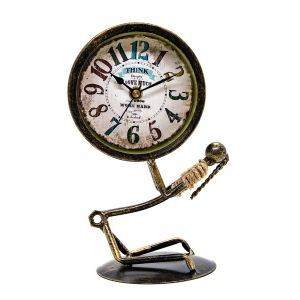 Metal Bolt Man Holding Up Round Clock - Gold/Black