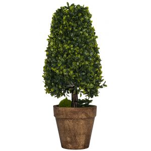 Large Artificial Triangular Shrub in Rustic Brown Clay Pot