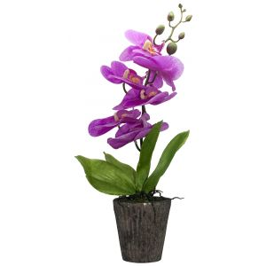 Large Artificial Purple Orchid in Rustic Style Brown Vase