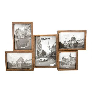 Wood Mahogany Effect 5 Picture Multi Size Photo Frame