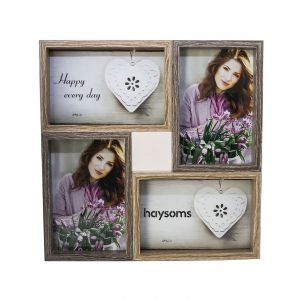 "Wood Effect Multi Photo Frame 4"" x 6"" Dark Brown - Light Brown"