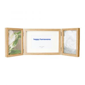 "Contemporary Wood Oak Effect Hinged Triple 4"" x 6"" Table Collage Picture Frame"