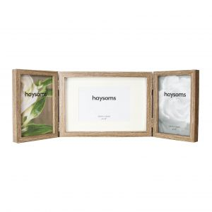 "Contemporary Wood Oak Effect Hinged Triple 4"" x 6""Picture Frame"