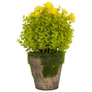 Small Artificial 'Hypericum Hidcote' Shrub with Yellow Flowers in Rustic Pot