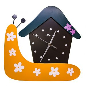 Snail House Children's Wall Mounted Clock - Orange - Blue - Black