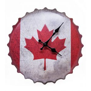 Canadian Flag Bottle Cap Metal Wall Clock - Red - White