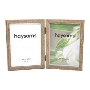 """Faded Wood Effect Hinged Photo Frame 5"""" x 7"""" Light Brown"""
