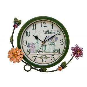 Contemporary French Circular Metal Clock With Flowers - Green - Floral