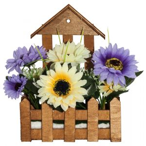 Artificial White and Purple Daisies in Charming Wooden Planter