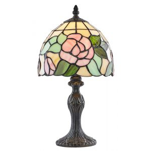 Traditional Pink Rose Tiffany Glass Lamp with Green Leaves