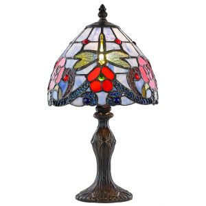Red Rose Stained Glass Tiffany Lamp with Dragonfly Decoration
