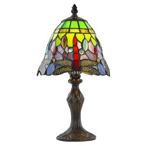 Beautiful Multi-Coloured Stained Glass Dragonfly Tiffany Lamp