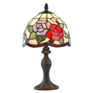 Multi-Coloured Floral Stained Glass Floral Themed Tiffany Lamp