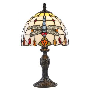 Dragonfly Designed Stained Glass Tiffany Lamp with Red/Amber Beads