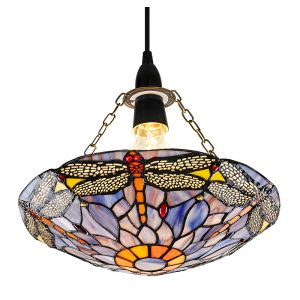 Traditional Purple Dragonfly Tiffany Glass Easy Fit Pendant Shade