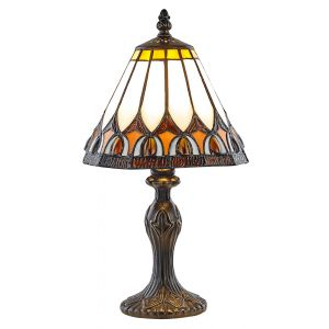 Art Deco Tiffany Glass Table Lamp with Amber Shade