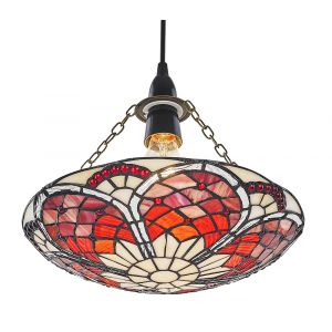 Eye-Catching Red/Amber Tiffany Stained Glass Glass Pendant Shade