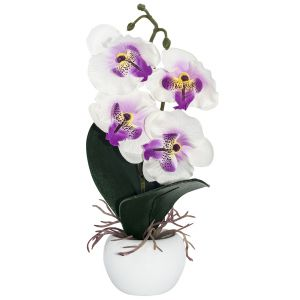 Elegant Artificial White Orchid in Small Round White Vase