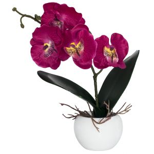 Elegant Artificial Fuschia Pink Orchid in Small Round White Vase