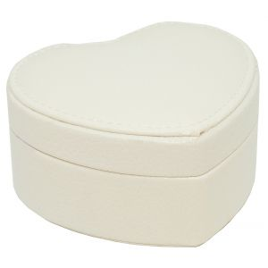 Small White Heart Shape Faux Leather Jewellery Box with Mirror