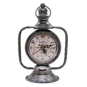 Lantern Style Traditional Standing Clock - Tarnished Silver