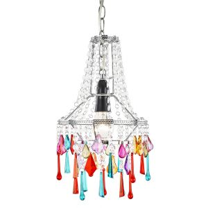 Modern Easy Fit Chandelier Ceiling Shade with Multi-Coloured Acrylic Droplets