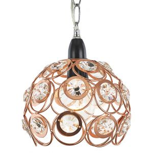 Modern Shiny Copper Pendant Light Shade with Large Acrylic Discs