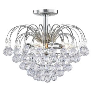Modern Chrome Plated Waterfall Ceiling Light with Transparent Acrylic Spheres