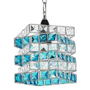 Designer Chrome Plated Pendant Light Shade with Teal and Clear Acrylic Beads