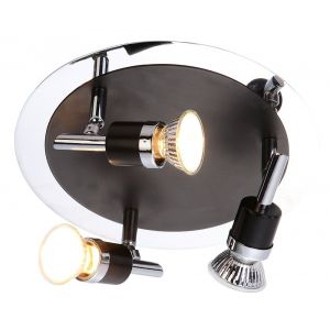 Contemporary Triple Spot Ceiling Light in Matt Black and Polished Chrome