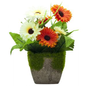 Charming Artificial White and Orange Daisies in Rustic Brown Clay Pot