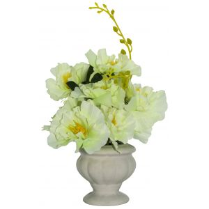 Pretty Artificial White Peonies in Traditional White Ceramic Vase